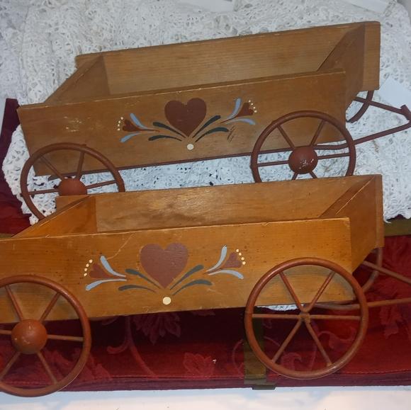 2 Vintage Wooden Wagon Wall Pockets Home Interiors